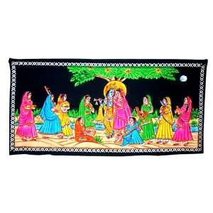 Cotton Hand Painted Pretty Lord Krishna Wall Hanging