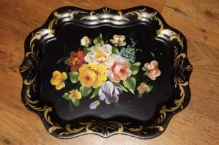 VINTAGE VIBRANT HAND PAINTED FLORAL METAL TOLE WARE TRAY