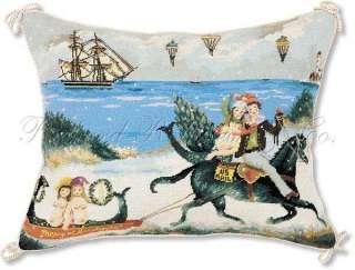 Merry Christmas Mermaid Needlepoint Pillow.