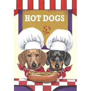 Dachshund Hot Dog Stand Large Flag