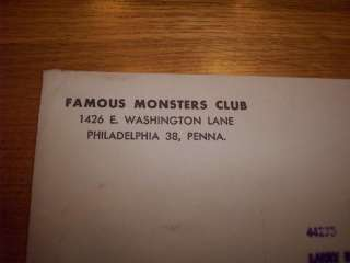 Famous Monsters Fan Club Kit with Original Mailier from the early 1962