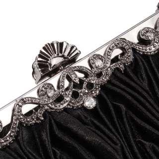 Pleat Black Bridal Wedding Evening Party Prom Clutch Handbag Purse w