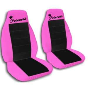 2 Hot pink and black Princess car seat covers, for a