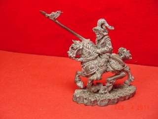 Vintage Pewter 80 KNIGHT ON WAR HORSE STEED STALLION