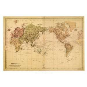 Mercator Projection World Map Hammond North America Europe Asia - 1800s world map