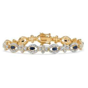 PalmBeach Jewelry 18K Gold Over Sterling Silver Midnight Sapphire and