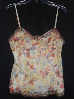 Intuitions 100% Silk Chiffon Floral Cami Lace Layering Tank Top Beaded