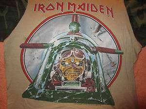 Vintage IRON MAIDEN Concert T Shirt Tour Shirt 1984 Md Camo Tan Aces