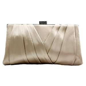 Apricot Satin Sophisticated Evening Purse   Clutch with High Quality