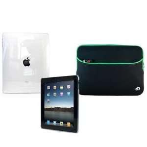 Body Skin Hard Shell Cover + Green Sleeve Case for iPad 1 Wifi 3G 16