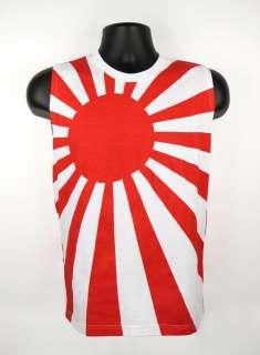 80s JAPAN Flag RISING SUN Kamikaze Sleeveless Tank Top Shirt Mens