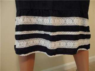 ANN TAYLOR LOFT Black Linen Skirt White Lace Detail Size 10