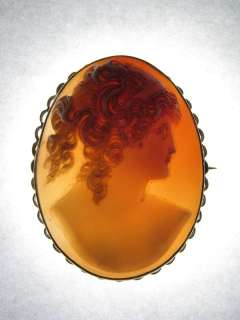 GOLD CARVED NATURAL SHELL CAMEO PIN BROOCH MAIDEN GODDESS c1890