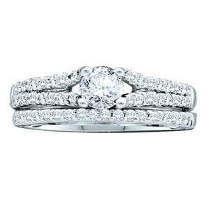 3/4 Carat Diamond 14k White Gold Bridal Ring Set