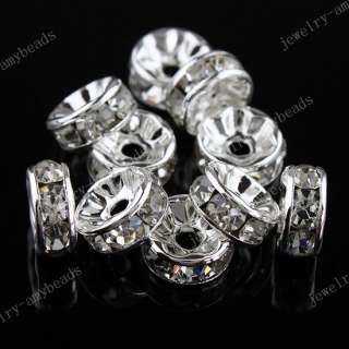 50PCS CLEAR CRYSTAL SPACER CHARM BEADS FINDINGS 8MM