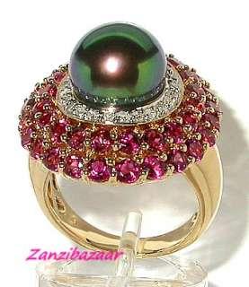 LAURA RAMSEY 14K GOLD PEARL, GARNET & DIAMOND RING 11.20G