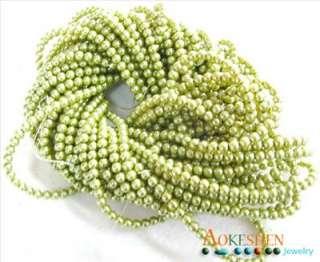 200pcs light green Faux Glass Pearl Beads 4mm BDC3