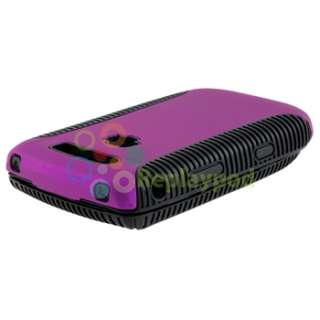 Black Purple Hybrid Case+Privacy SP+USB+Charger For Blackberry Torch