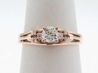 Estate 0.41ct Genuine Diamonds Solid 14k Rose Gold Engagement Ring