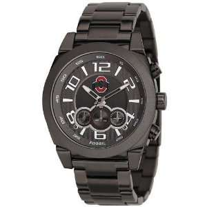 Fossil Ohio State Buckeyes Mens Black Stainless Steel SIP Stop Watch