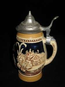Original King Lidded Miniature Beer Stein, Hand Painted
