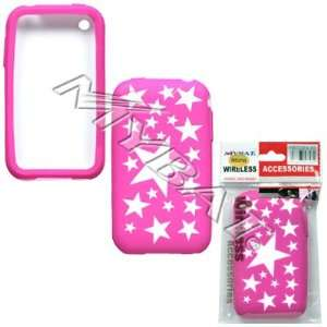 Apple iphone 3G Laser Cut White Stars(Hot Pink) Skin Case