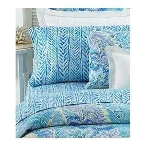Ralph Lauren Jamaica Blue Herringbone Queen Flat Sheet