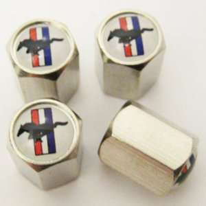 Set of 4 Ford Mustang Black White Chrome Tire Valve Stem Caps (Made