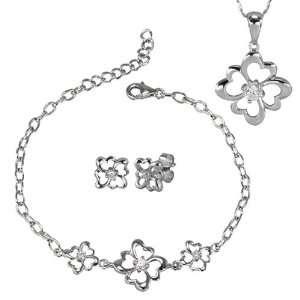 Four Leaf Clover Diamond Cubic Zirconia Lucky Charm Platinum Overlay