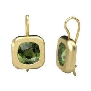 Earrings, Cushion Green Tourmaline 14K Yellow Gold Earrings Jewelry