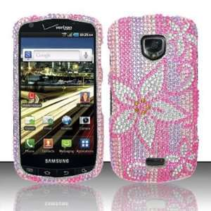HOT PINK FLOWERS Hard Plastic Rhinestone Bling Design Case for Samsung