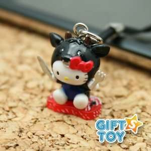 Hello Kitty Black Cow (Beef) Cell Phone Charm Everything