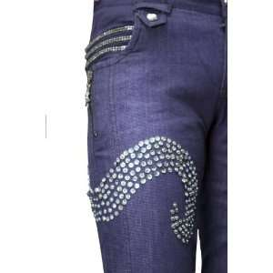 Silver Sequence & Bead Wave Embroidered Navy Blue Jeans