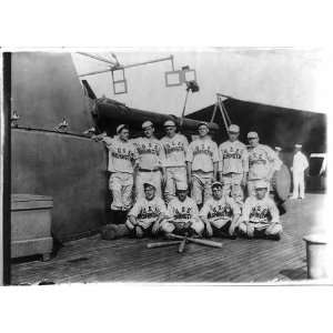 Navy baseball team of USS WASHINGTON on deck,in uniform,3