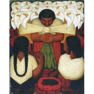 Oil Reproduction   Diego Rivera   32 x 40 inches   Flower Festival