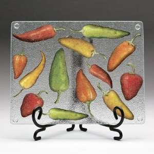 Hot Chili Peppers Tempered Glass Cutting Board with Easel