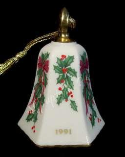 Lenox China 1991 Annual Holiday Christmas Tree Ornament Bell Holly