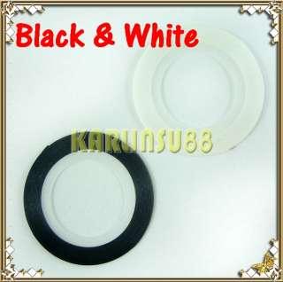 2pc White + Black Striping Tape Nail Art Self Sticker
