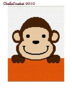 Hang on Monkey Baby Afghan Crochet Pattern Graph 100st