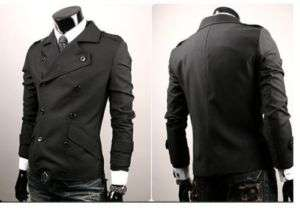 South Korea mens Double breast jacket coat sweatshirt