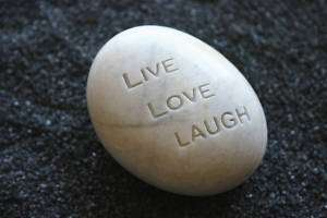 Live Love Laugh Engraved White Stone Inspirational Word