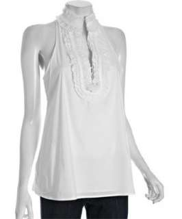 BCBGMAXAZRIA white poplin pleated neck sleeveless blouse   up