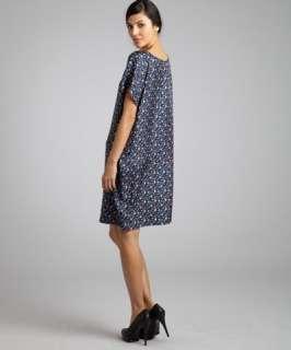 See By Chloe purple feather print silk shift dress