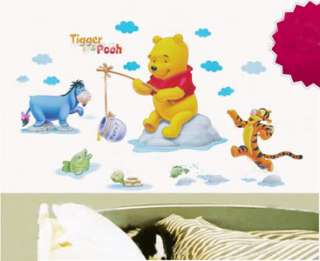 Cute Disney Winnie Pooh & Friends Fishing Lifestyle wall stickers