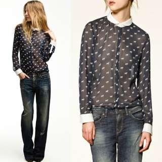 Fashion New 2012 Spring Trf Horse Print Chiffon Women Print Shirt