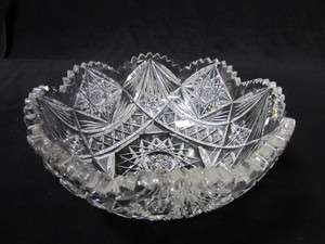 American Brilliant clear Cut Glass bowl Dish Hobstar Pattern victorian