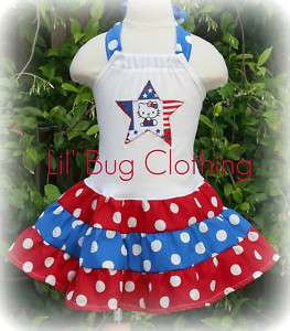 Custom Hello Kitty 4th of July Red White Blue Dress