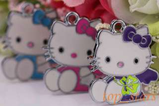 30 PCS Tibetan silver Mix color hello kitty cat Pendants Charms 26