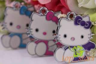 30 PCS Tibetan silver Mix color hello kitty cat Pendants Charms 26