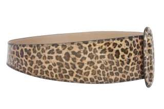 Wide High Waist Leopard Print Tapered Faux Patent Leather Belt